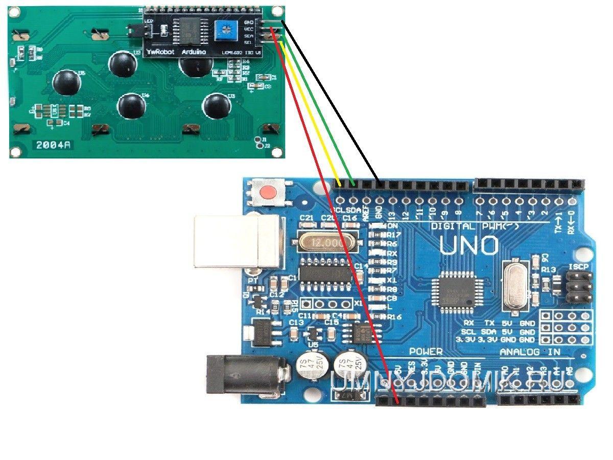 Схема подключения 2004-lcd к Arduino через I2C