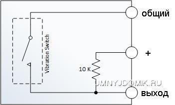 """Принципиальная схема датчика детонации """"KY-031"""""""
