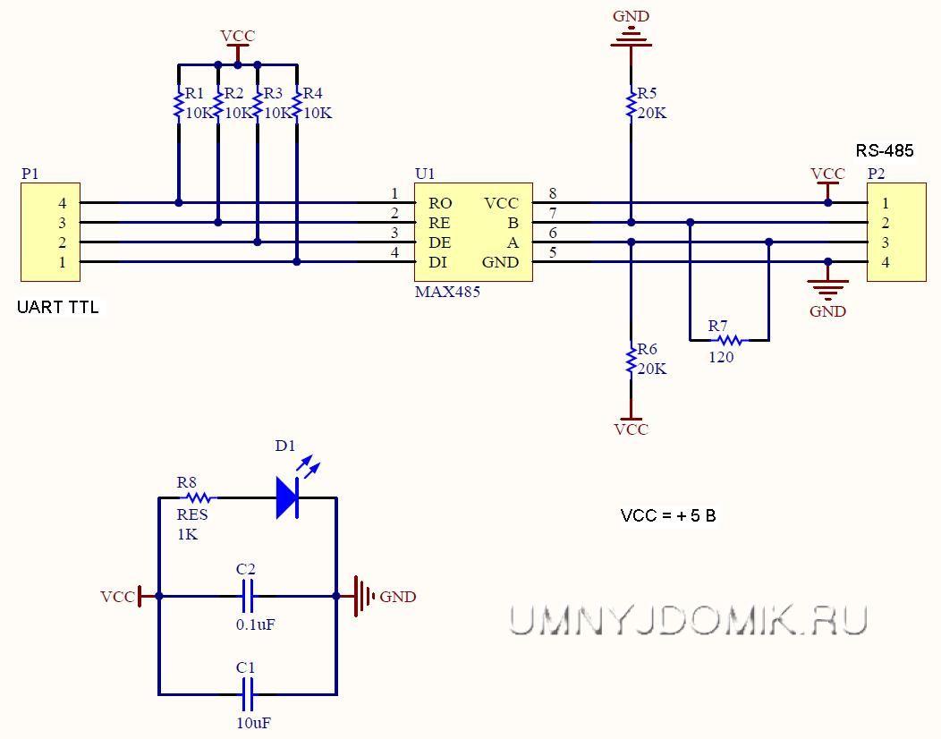 Принципиальная схема модуля преобразователя интерфейсов UART TTL - RS-485 (на MAX485)