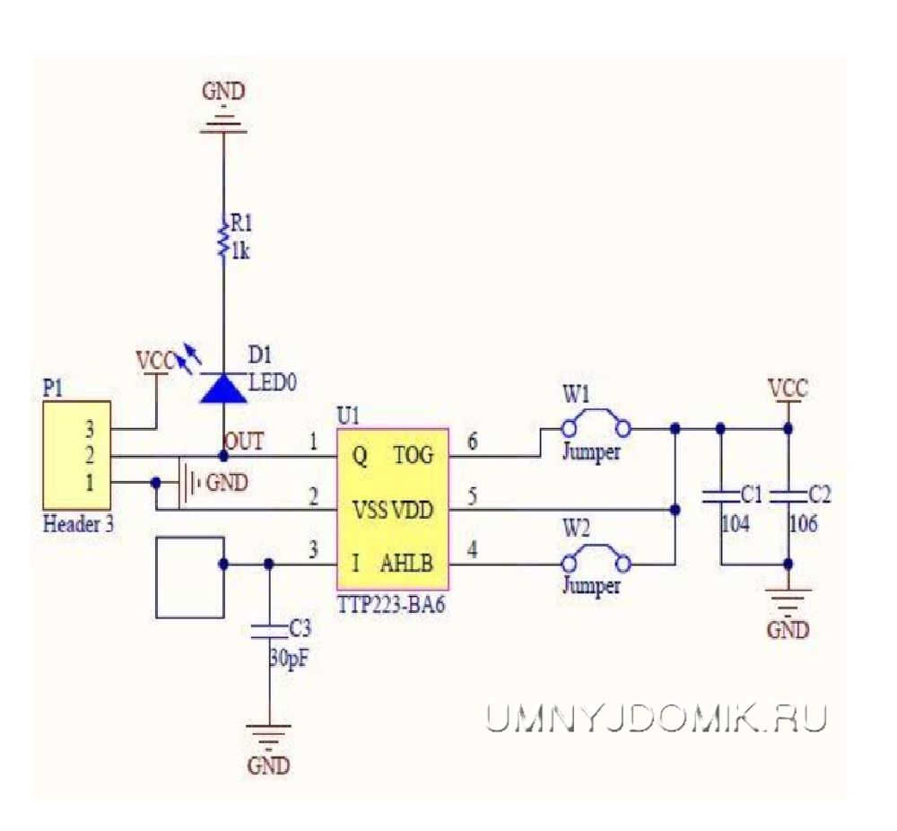 """Принципиальная схема сенсорного модуля """"TTP223"""""""