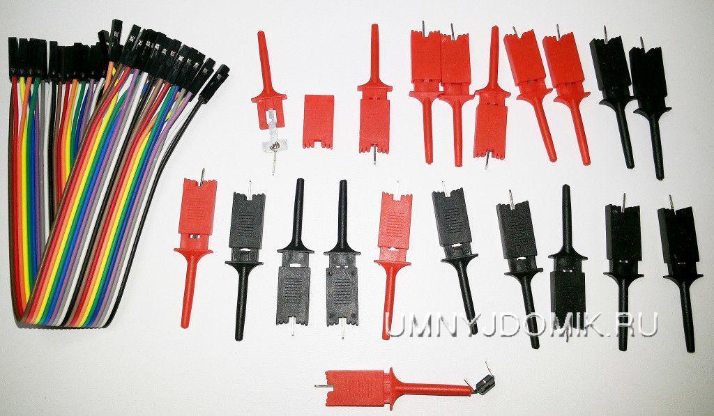 наконечники с зажимами и 16 канальный кабель