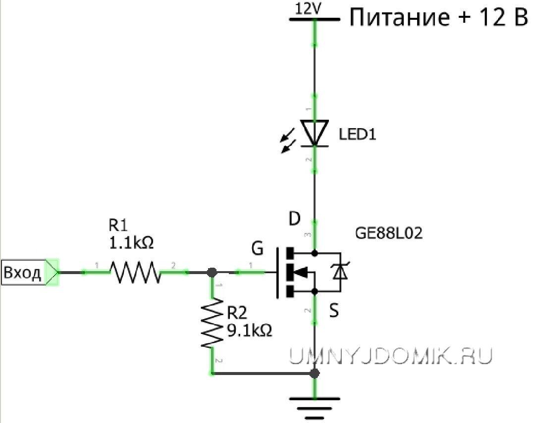 Ключ для управления мощной нагрузкой постоянного тока с помощью низкого напряжения