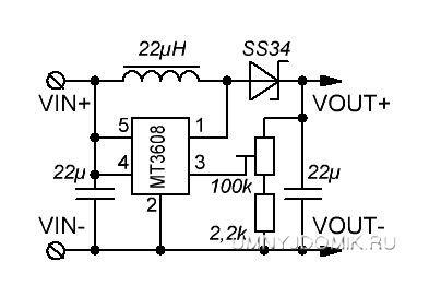 схема модуля на mt3608