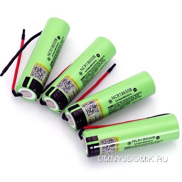 """Перезаряжаемая литий-ионная аккумуляторная батарея """"NCR18650B"""" 3.7 В, 3400 мА/ч, тип -18650 с клеммами"""