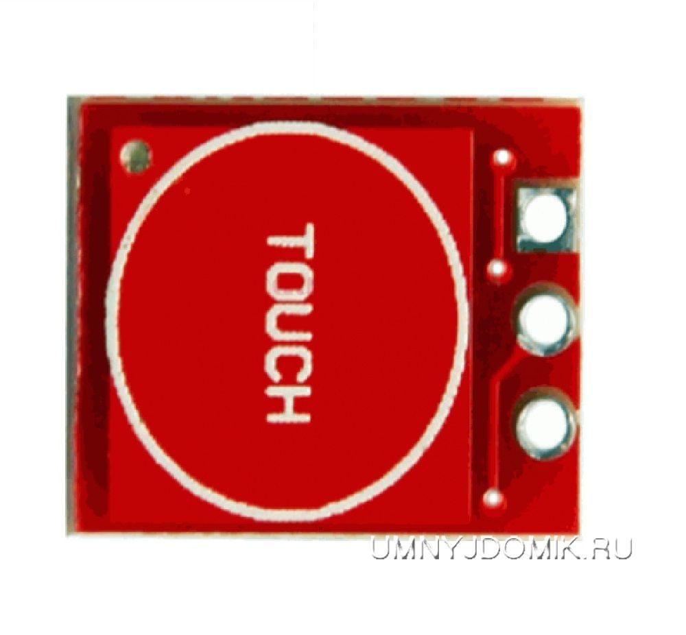 """Сенсорная кнопка - модуль """"TTP223"""" с фиксацией/без фиксации - вид сверху"""