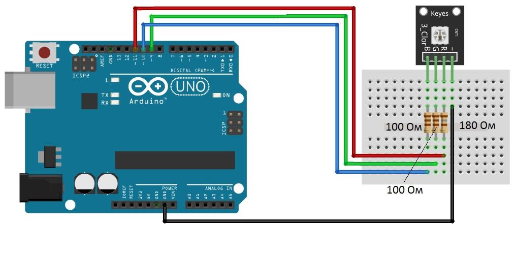 Подключение KY-009 к Arduino UNO